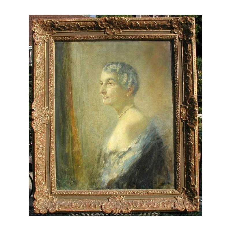 peintures tableau portrait de femme sign junker moinat sa antiquit s d coration. Black Bedroom Furniture Sets. Home Design Ideas