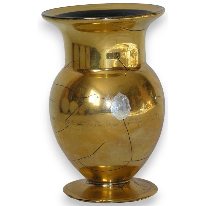 vase suisse de st prex en verre dor sur moinat sa antiquit s d coration. Black Bedroom Furniture Sets. Home Design Ideas