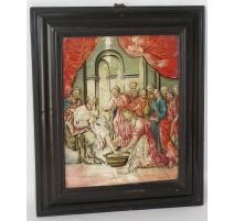 Tableau fixé sous verre scène religieuse