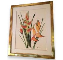 """Aquarelle Fleurs """"Heliconia"""" signée"""