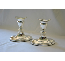 Pair of candlesticks silver oval base