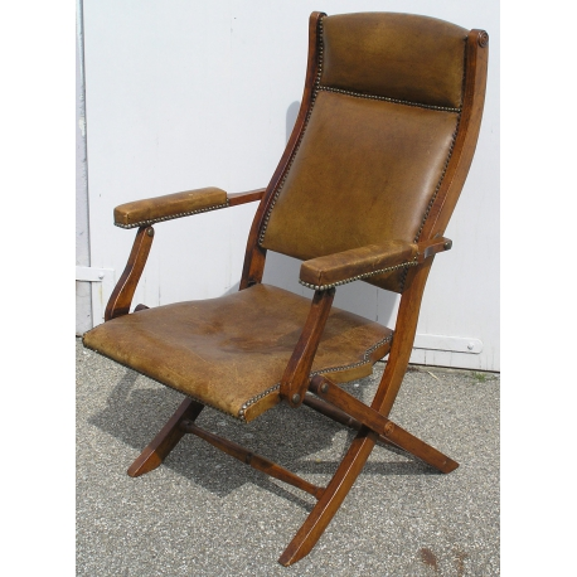 Sessel Englisch Folding Leder Bedeckter Moinat Sa Antiquites
