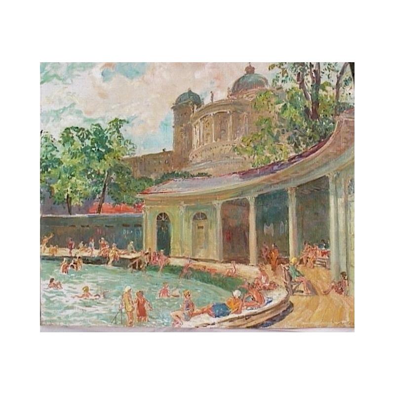 Peintures huile sur toile piscine devant le moinat sa for Piscine 20eme