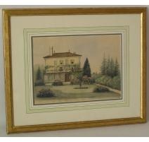 "Watercolor switzerland on paper ""Les Uttins"