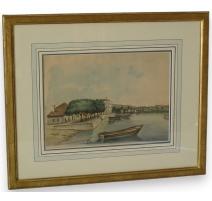 """Watercolor switzerland on paper """"Port"""