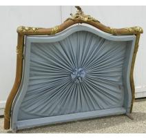 Ciel de lit Napoléon III avec tissu bleu.