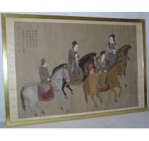 """Tableau peinture sur soie """"Cavaliers""""."""