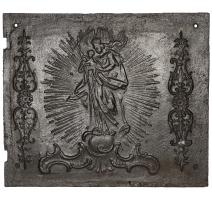 Plaque de cheminée à décor de Vierge à