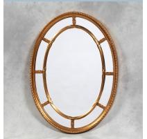 Miroir ovale à cloisons et verre