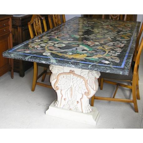 Tisch Marmor Grun Dekor Blumen Moinat Sa Antiquites Decoration