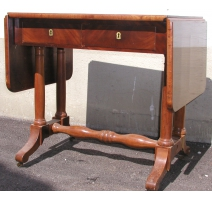 Small tea table, with flaps and wheels. 2 drawers.