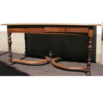Table-bureau Louis XIII avec 2 tiroirs.