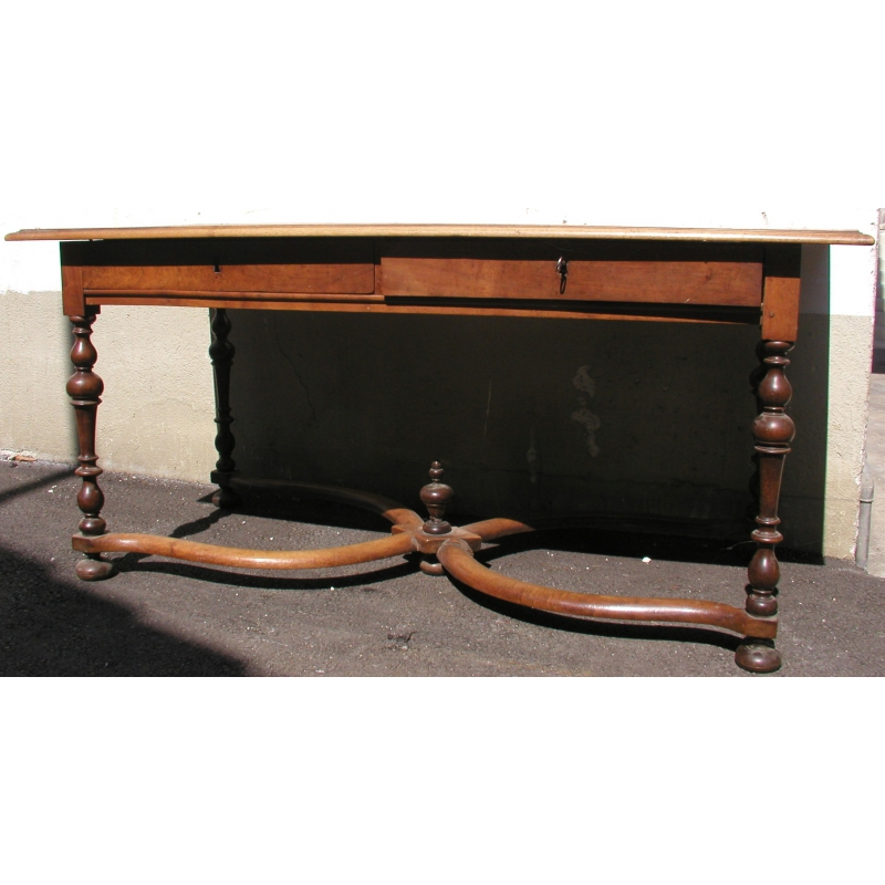 Table bureau louis xiii avec 2 tiroirs moinat sa for Bureau louis 13