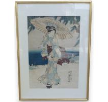 """Estampe Japonaise """"Geisha à l'ombrelle"""""""