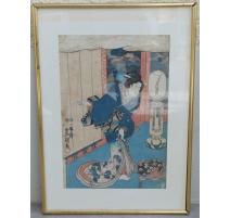 """Estampe Japonaise """"Geisha dansant"""" de"""