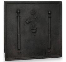 """Plaque de cheminée carrée """"Fleurs et"""