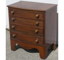 Small chest of drawers with curved, mahogany. With