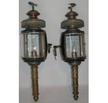 Paire de lampes de fiacre rondes de Ch. BONDIN
