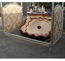 Bett Louis XVI, weiß lackiert und gold, mit