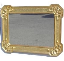 Miroir Baroque, en bois doré. Italie.