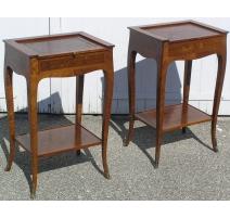 Пара прикроватные Столики в стиле Людовика XV, деревянные