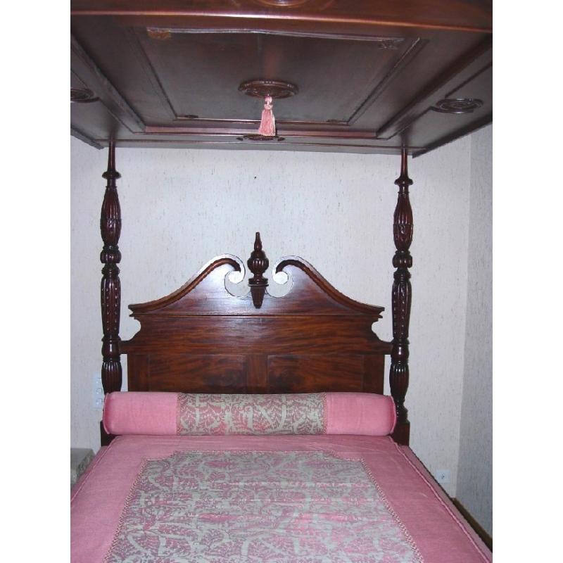 Cama con dosel, inglés de caoba - Moinat SA - Antiquités décoration