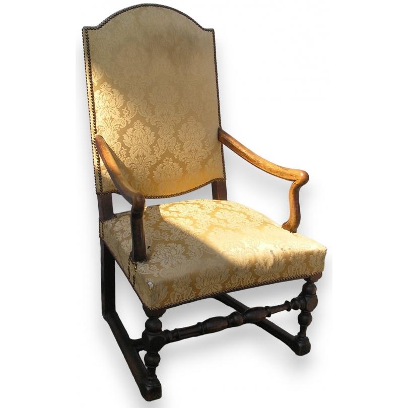 fauteuil louis xiii avec entretoise en sur moinat sa antiquit s d coration. Black Bedroom Furniture Sets. Home Design Ideas