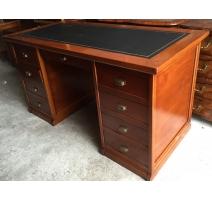 Plana, escritorio con 9 cajones, parte superior de cuero