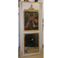 "Mantel mirror with painting ""Scene Galante""."