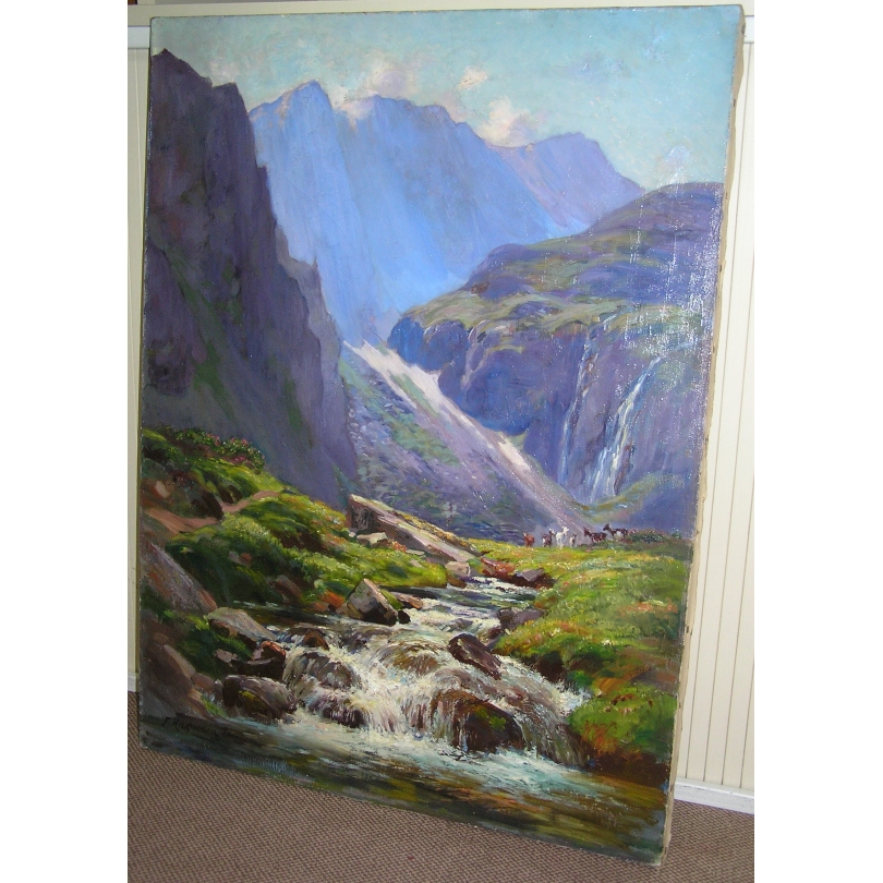 peintures tableau huile sur toile paysage de montagne moinat sa antiquit s d coration. Black Bedroom Furniture Sets. Home Design Ideas