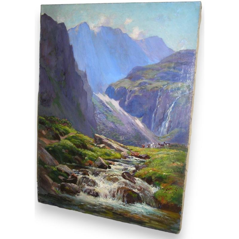 peintures tableau huile sur toile paysage de montagne. Black Bedroom Furniture Sets. Home Design Ideas