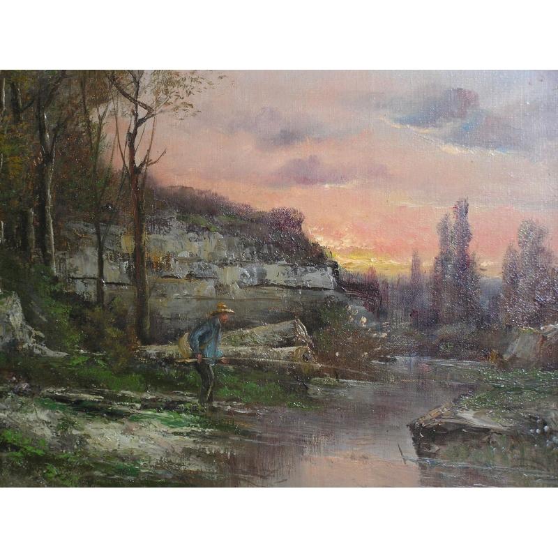 peintures tableau huile sur toile paysage avec moinat sa antiquit s d coration. Black Bedroom Furniture Sets. Home Design Ideas