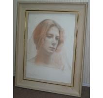 """Pastel """"Portrait de femme"""" signé L.P. ROBERT"""
