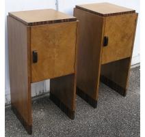 Pair of Bedside Tables Art Deco, veneer