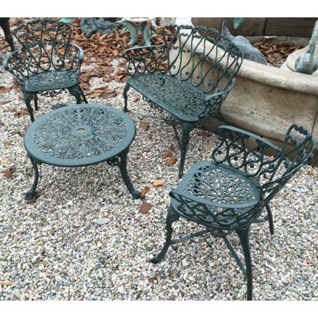 Ensemble de jardin en fonte d\'aluminium - Moinat SA - Antiquités décoration