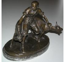 """Bronze """"Chevrier avec deux chèvres"""","""
