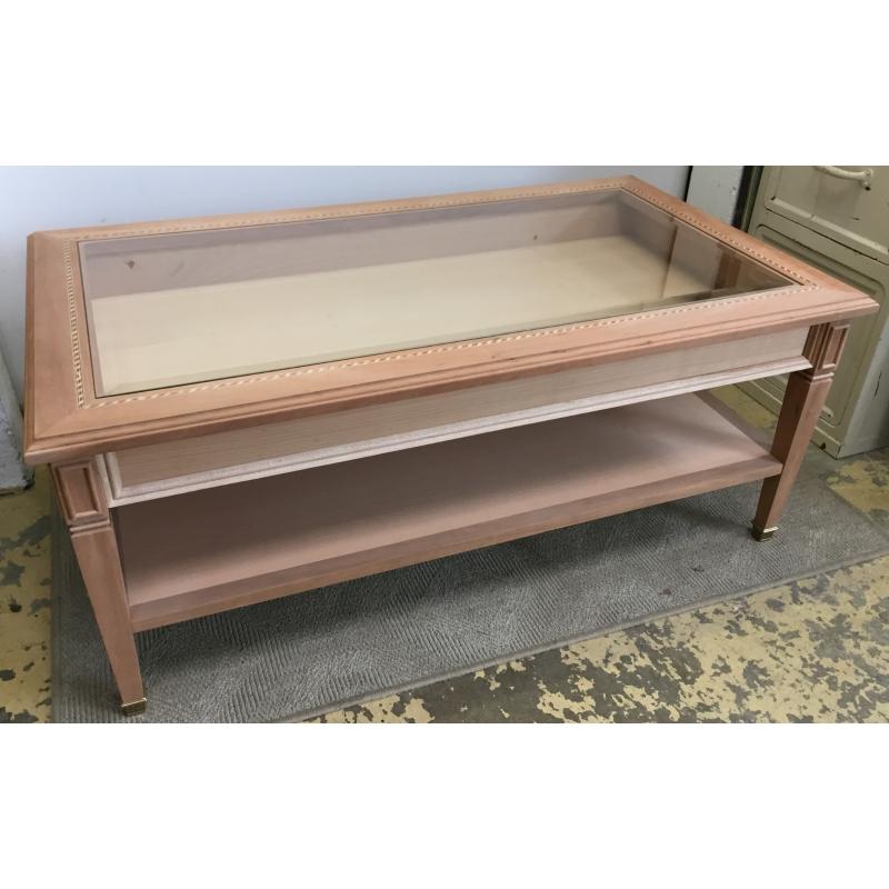 table basse en merisier dessus verre sur moinat sa antiquit s d coration. Black Bedroom Furniture Sets. Home Design Ideas