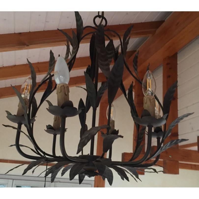 lustre feuilles de laurier en fer sur moinat sa antiquit s d coration. Black Bedroom Furniture Sets. Home Design Ideas