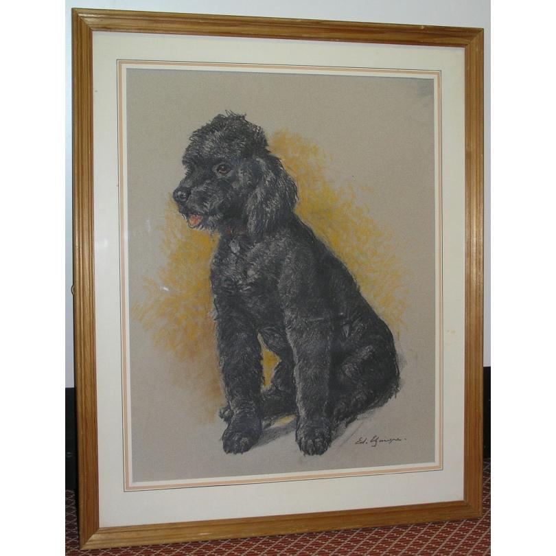 Dessin original chien caniche noir sur moinat sa antiquit s d coration - Dessin caniche ...
