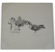"""Gravure sur papier """"Trois oies"""