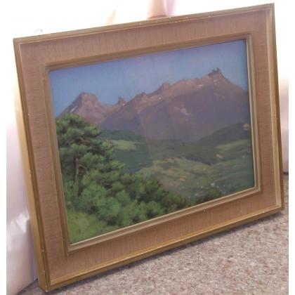 """Pastel """"Paysage de montagnes"""", signé BIRBAUM."""