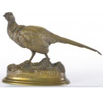 """Sculpture """"Faisan"""", en bronze à patine"""