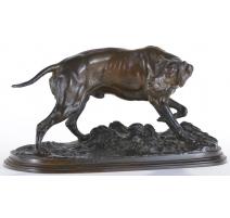 """Sculpture """"Chien de chasse"""", en bronze"""