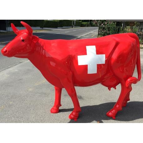 vache en r sine et fibre de verre drapeau suisse sur moinat sa antiquit s d coration. Black Bedroom Furniture Sets. Home Design Ideas