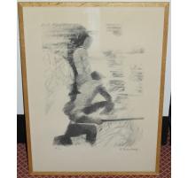 """Lithographie """"La pêche"""" H.C. signée M."""