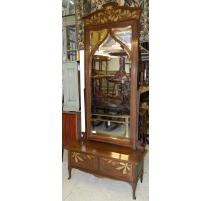 Miroir sur pied Art Nouveau décor de