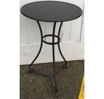 Round pedestal table black wrought iron
