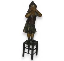 """Sculpture en régule """"Jeune fille debout"""
