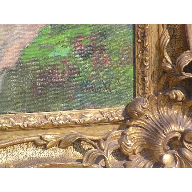 peintures tableau huile sur toile l da et le moinat sa antiquit s d coration. Black Bedroom Furniture Sets. Home Design Ideas