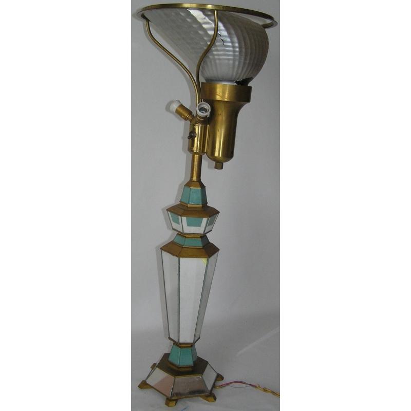 Lampe miroir facettes en verre bois sur moinat sa for Lampe miroir